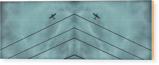 Above The Lines Blue Panorama Wood Print by Tony Grider