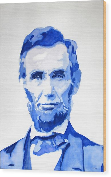 Abraham Lincoln A Study In Blue Wood Print