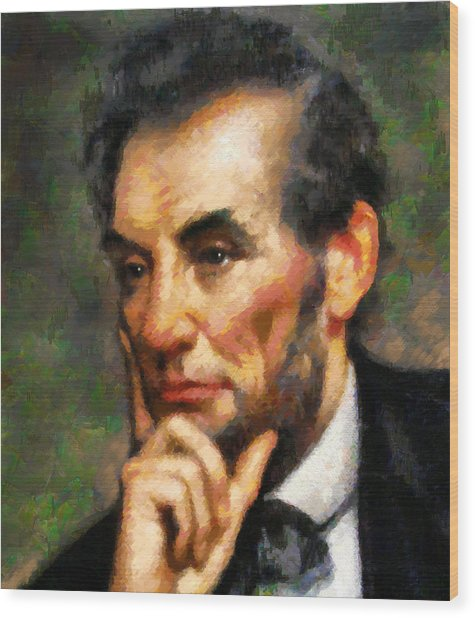 Abraham Lincoln - Abstract Realism Wood Print