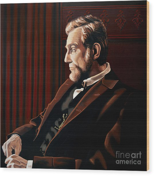Abraham Lincoln By Daniel Day-lewis Wood Print