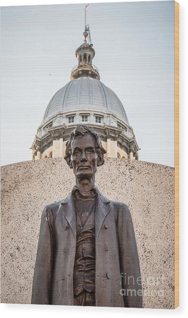 Abraham Lincoln Statue At Illinois State Capitol Wood Print