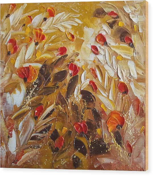 Abstact Red Flower Painting On Caramel By Ekaterina Chernova Wood Print
