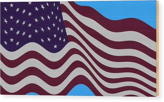 Abstract Burgundy Grey Violet 50 Star American Flag Flying Cropped Wood Print