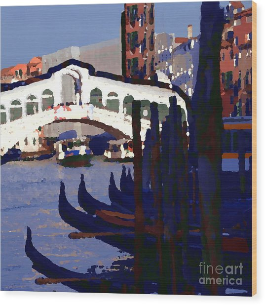 Abstract - Rialto Bridge Wood Print by Jacqueline M Lewis