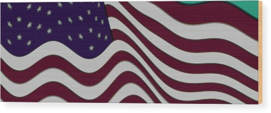 Abstract 50 Star American Flag Flying Enhanced Cropped X 2 Wood Print by L Brown