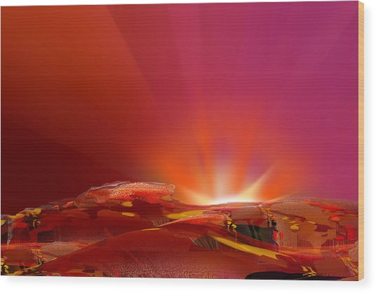 Abstract - Alien Sunrise Wood Print