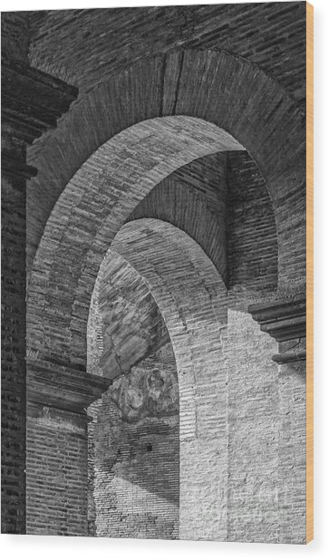 Abstract Arches Colosseum Mono Wood Print