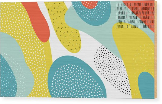 Abstract Art Color Vector  Lines And Wood Print by Chaluk