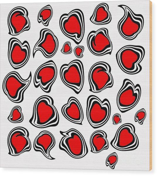 Hearts Black White Red No.386. Wood Print by Drinka Mercep