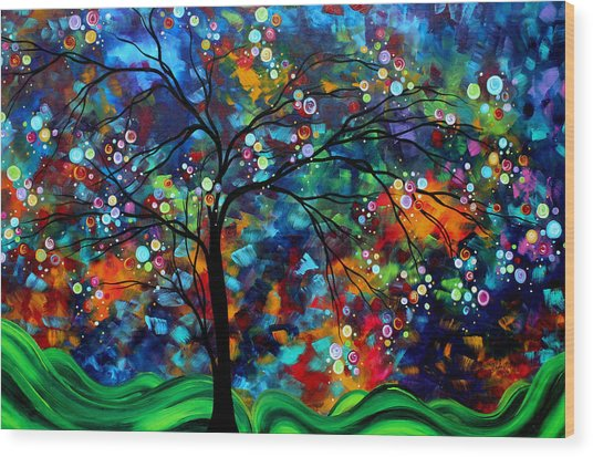 Abstract Art Original Landscape Painting Bold Colorful Design Shimmer In The Sky By Madart Wood Print