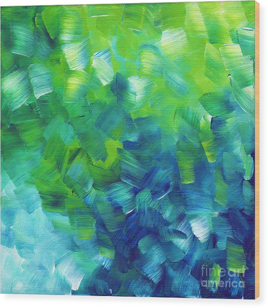 Abstract Art Original Textured Soothing Painting Sea Of Whimsy I By Madart Wood Print