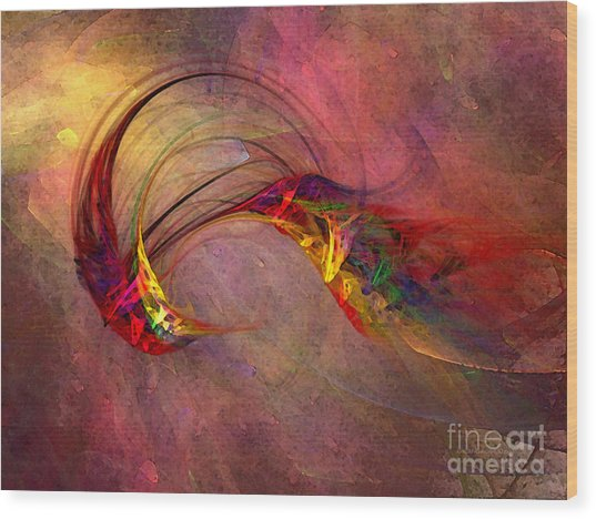 Abstract Art Print Hummingbird Wood Print