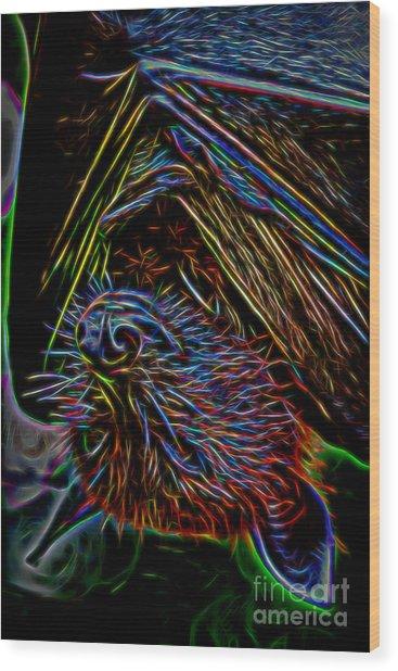 Abstract Bat Wood Print