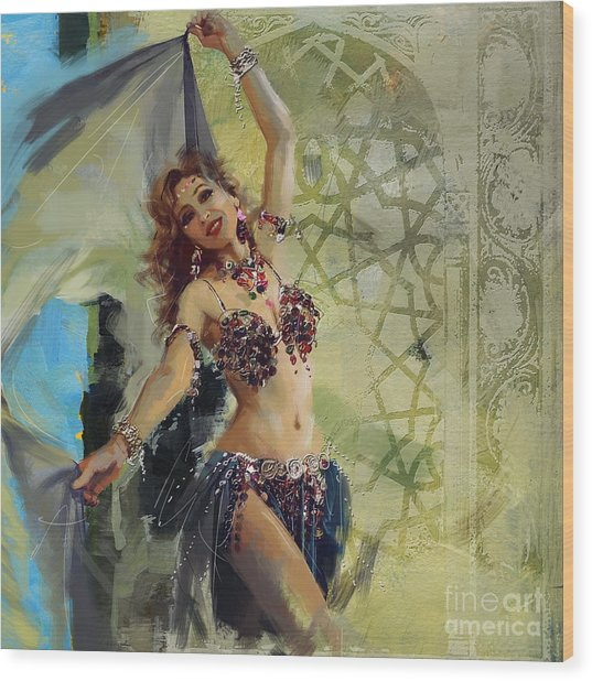 Abstract Belly Dancer 1 Wood Print
