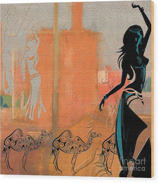 Abstract Belly Dancer 4 Wood Print