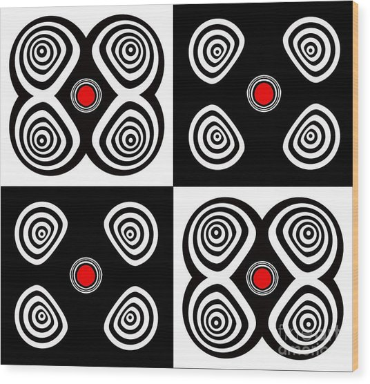 Abstract Black White Red Op Art Minimalism No.217  Wood Print by Drinka Mercep