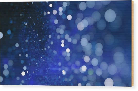Abstract Blue Bokeh Sparkling Spray Circle Wood Print by Oxygen