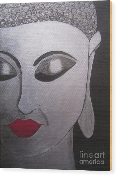 Abstract Buddha Wood Print by Priyanka Rastogi