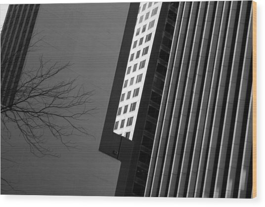 Abstract Building Patterns Black White Wood Print