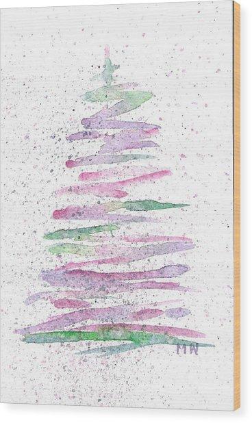 Abstract Christmas Tree Wood Print