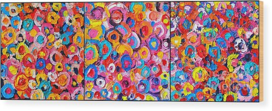 Abstract Colorful Flowers Triptych  Wood Print