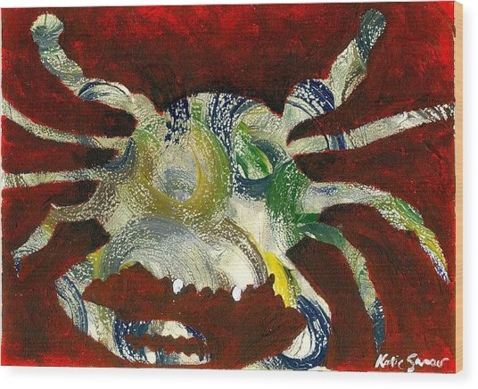 Abstract Crab Wood Print