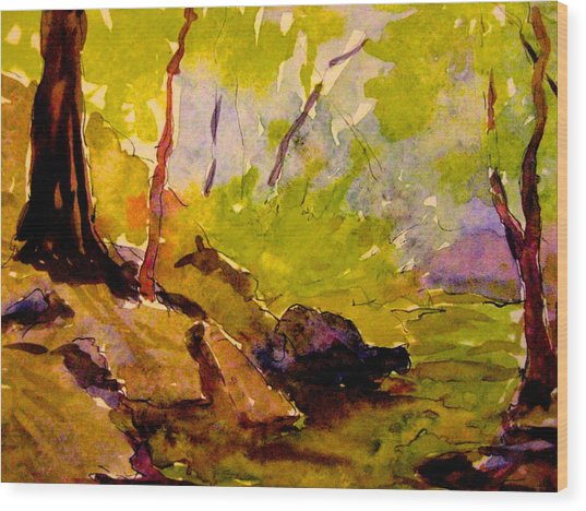 Abstract Creek In Woods Wood Print