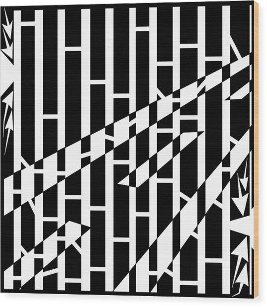 Abstract Distortion Driving Road Maze  Wood Print by Yonatan Frimer Maze Artist