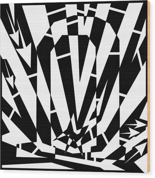 Abstract Distortion Horse Shoe Magnet Wood Print by Yonatan Frimer Maze Artist