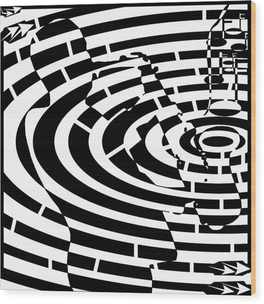 Abstract Distortion Jazz On Saxophone Maze  Wood Print by Yonatan Frimer Maze Artist