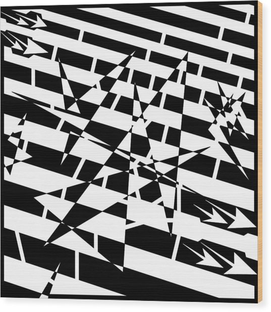 Abstract Distortion Of Weakly Interactive Massive Particles Maze  Wood Print by Yonatan Frimer Maze Artist