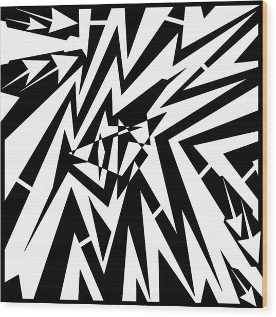 Abstract Distortion Tear In Time Space Maze  Wood Print by Yonatan Frimer Maze Artist