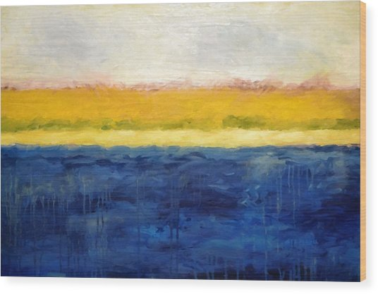 Abstract Dunes With Blue And Gold Wood Print