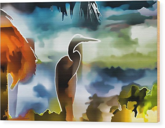 Abstract Egret Profile Wood Print