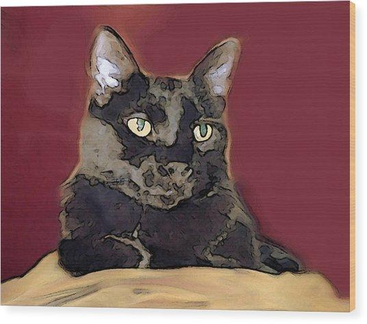 Abstract Feline Wood Print