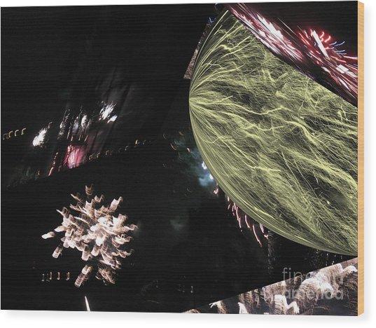 Abstract Firework - Ile De La Reunion - Reunion Island - Indian Ocean Wood Print by Francoise Leandre