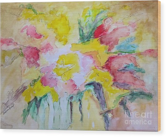Abstract Floral Wood Print