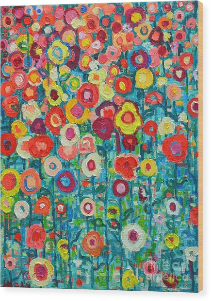 Abstract Garden Of Happiness Wood Print