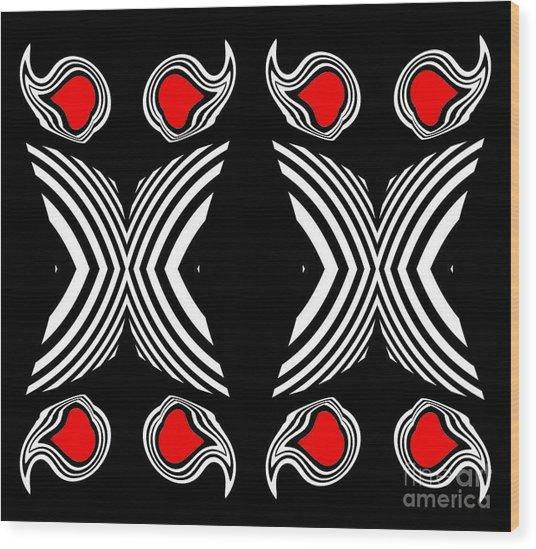 Abstract Geometric Black White Red Op Art No.385. Wood Print by Drinka Mercep