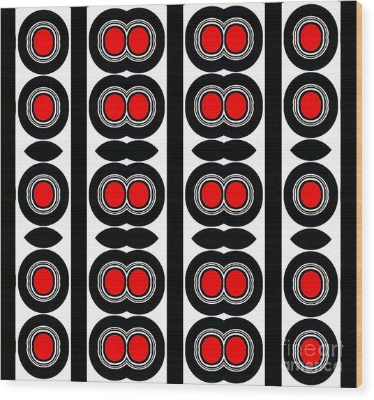 Pattern Black White Red Art No. 379. Wood Print by Drinka Mercep