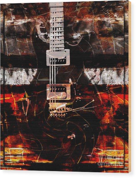 Abstract Guitar Into Metal Wood Print
