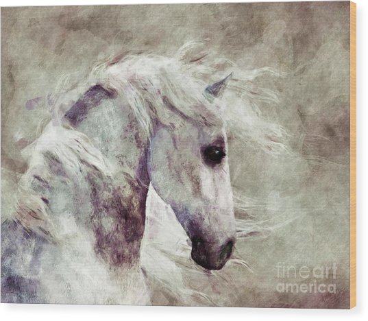 Abstract Horse Portrait Wood Print