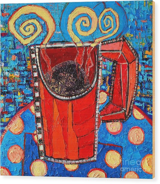 Abstract Hot Coffee In Red Mug Wood Print