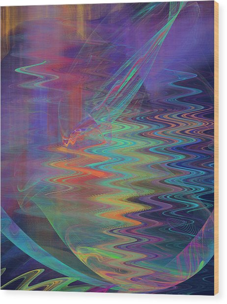 Abstract In Blue And Purple Wood Print