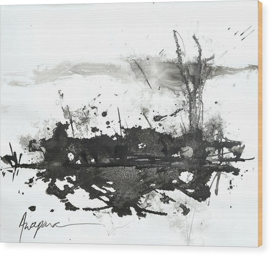Modern Abstract Black Ink Art Wood Print