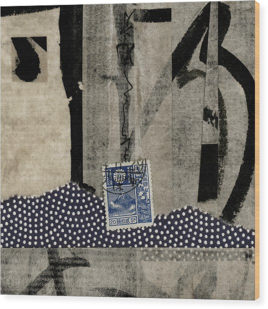 Abstract Japanese Collage Wood Print