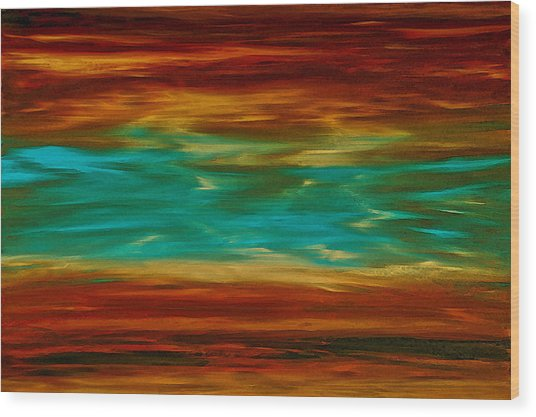 Abstract Landscape Art - Fire Over Copper Lake - By Sharon Cummings Wood Print