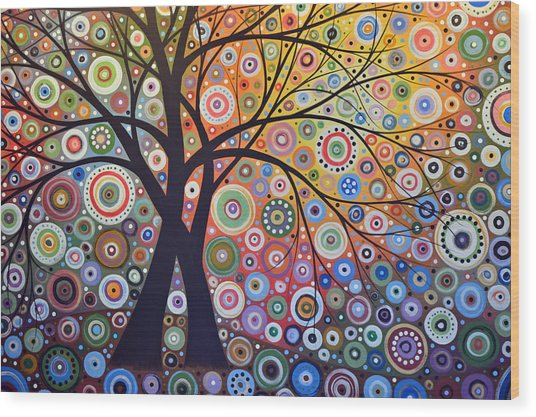 Abstract Landscape Painting ... Magic Garden Wood Print