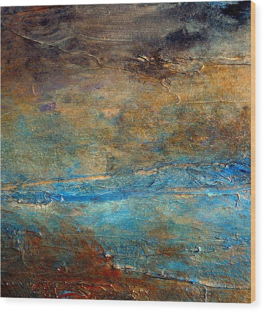 Rustic Abstract Landscape Painting Wood Print