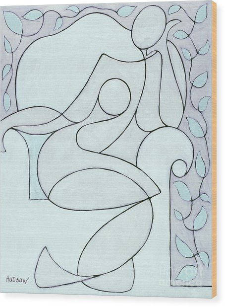 abstract modern art - Nude with Lines and Vines Wood Print
